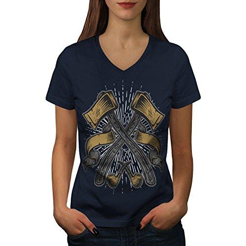 wellcoda Holzfällers AXT Frau 2XL V-Ausschnitt T-Shirt