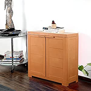 Cello Novelty Compact Plastic Cupboard with Shelf(Brown)