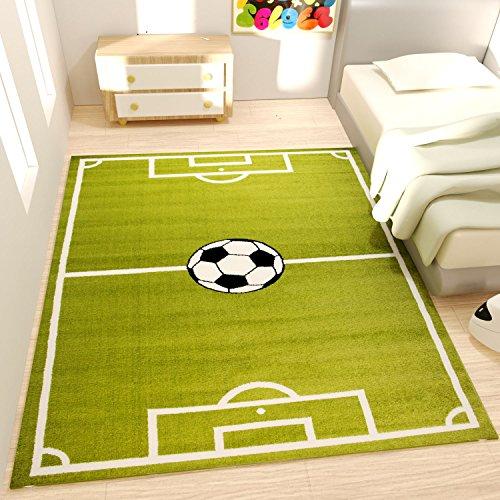 Spiel Teppich Kinderzimmer Fußball Grün Kurzflor Robust Pflegeleicht - VIMODA, Maße:60x100 cm