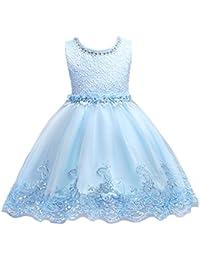 5bf50accebb4 Wolfteeth Abito Ragazze Vestito Principessa Elegante con Motivo a Ricamo  per Compleanno Nozze Battesimo Festa