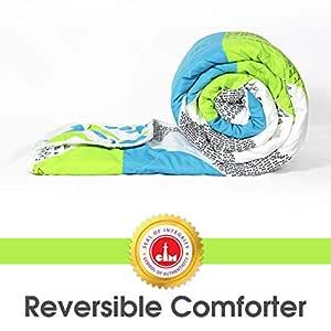 Divine Casa Microfibre Comforter/Blanket/Quilt/Duvet Lightweight, All Weather Single Comforter, Green - Geometric (110 GSM)