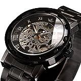 ALPS Mens Watch Luxury Skeleton Black Stainless Steel Mechnical Hand Wind Dress Watch