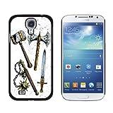 Fantasy Mittelalter Waffen–Axt Schwert Mace War Hammer Snap-on Hartschalen-Schutzhülle für Samsung Galaxy S4, Schwarz