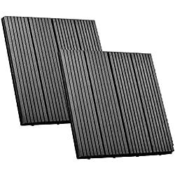 SIENOC 2 Sets de dalles de terrasse bois composite WPC Jardin (2x300*300 * 22mm Gris)