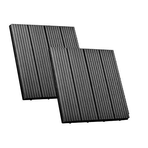 SIENOC Terrassen-Fliese aus WPC Kunststoff Balkon Bodenbelag mit Drainage Unterkonstruktion (2x Grau 30 * 30cm)