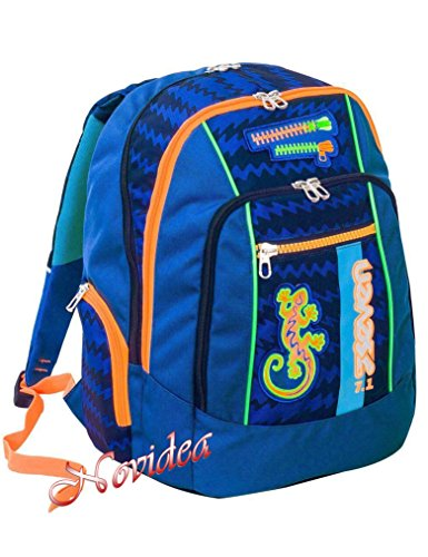ZAINO SCUOLA SEVEN NEW ADVANCED GECKO BOY BLU ERGONOMICO E FOSFORESCENTE