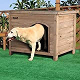 P PURLOVE Extra Large Wooden Dog Kennel for Outdoor Garden, Indoor Pet Dog House Crate with Removable Floor and Openable Slanted Waterproof Roof