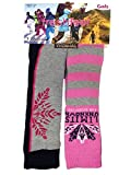 2 Pairs Girls Fresh Feel Thermal Ski Boot Socks Pink Stripe/Grey 9-12
