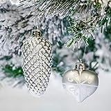 Victor's Workshop 50tlg. Weihnachtskugeln Weiss Silber Weihnachtsbaumschmuck Plastik Weihnachtsschmuck für Weihnachten Deko Anhänger MEHRWEGVERPACKUNG - 5