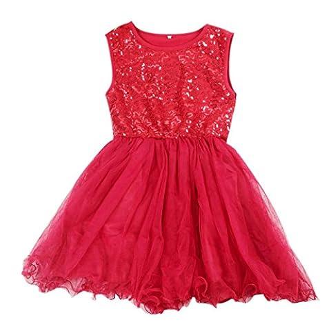 Kleid Mädchen (2-7 Jahre alt) Kolylong Baby Pailletten Prinzessin Party Kleid (100, Rote)