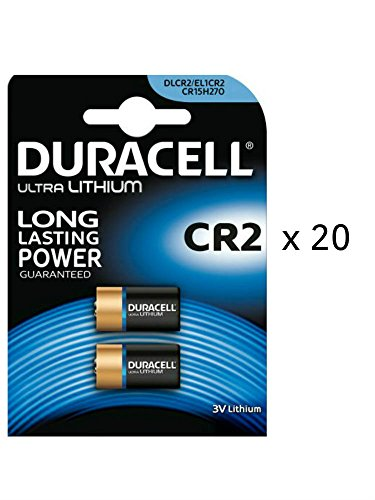 40x DURACELL Ultra CR23V Lithium Photo Batterie-20Twin Pack-40Batterien-DLCR2 Duracell 3v Lithium Photo Batterie