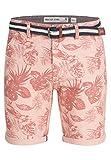 Indicode Herren Curtain Chino Bermuda Shorts Blumenprint Cameo Rose XL