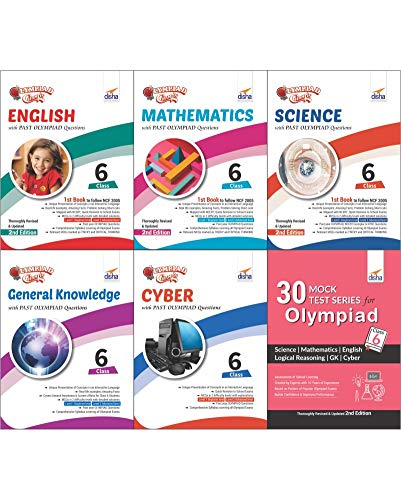 Olympiad Champs Science, Mathematics, English, Cyber & GK Class 6 with 30 Mock Tests (Set of 6 Books)