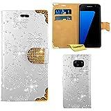 Samsung Galaxy S7 Edge Housse Coque - FoneExpert® Etui Housse Coque Bling Diamant en Cuir Portefeuille Wallet Case Cover pour Samsung Galaxy S7 Edge (Blanc)