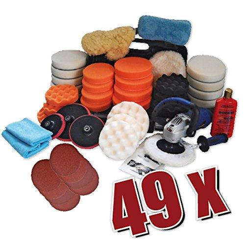 Kingbarney XXXXL Profiset - Poliermaschine / Polierer 1400 Watt Set 5 + Polierschwamm Zubehörset - Schleifmaschine - 49 Teile - Auto polieren