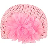 Kobwa(TM) Cute Crochet Flower Baby Knit Hat Infant Girl Cotton Cap With Kobwa's Keyring
