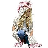 Tacobear Crochet Cartoon Unicorn Winter Hat with Scarf Pocket Hooded Knitting Beanie Cosplay Photography (typ 1)