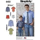 Simplicity 8180garçon et Chemise pour homme, boxers et cravate, Blanc