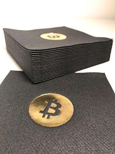 Bitcoin Cocktail Servietten | aus schwarzem Premium Airlaid | 25 St. | 25 x 25 cm | hochwertige BITCOIN Goldprägung | - 3