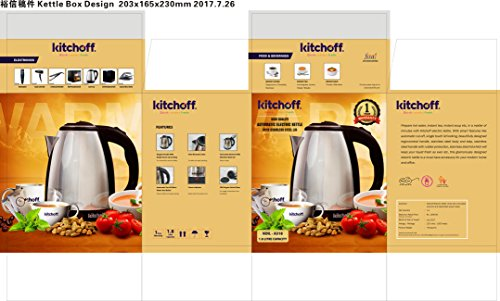 Kitchoff Stainless Steel Electric Automatic Kettle for Home & Office, 1.8L (Kl1_Black)