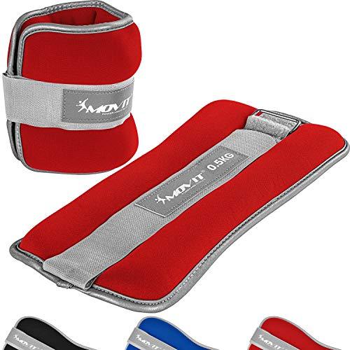 MOVIT® 2er Set Gewichtsmanschetten Neopren mit Reflektormaterial Laufgewichte für Hand- und Fußgelenke 2X 0,5 kg rot