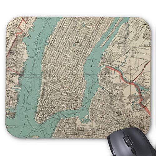 Drempad Gaming Mauspads Custom, Vintage Map of New York City (1890) Mouse Pad 11.8