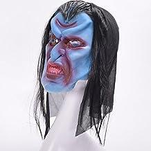 WKAIJCA Halloween Máscara Zombie Gracioso Persona Completa Horror Con Cabello Sombrerería Mueca
