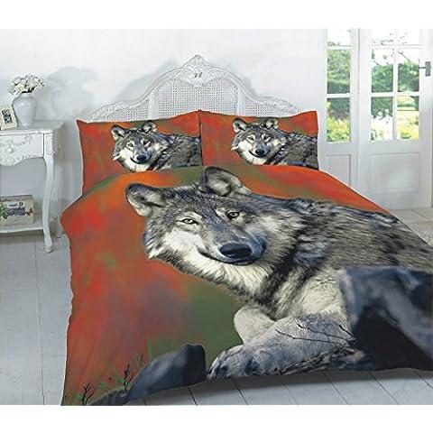 Warldey - Set con copripiumino e federa per letto singolo, matrimoniale, king-size e super king-size, disegno: animali, 50% cotone/ cotone/poliestere, lupo, King