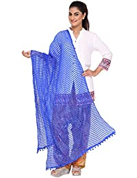 Nikita Women's Synthetic Chiffon Royal Blue Striped Dupatta