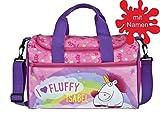 Sporttasche mit Namen | personalisiert & Bedruckt | Motiv Fluffy Einhorn | Reisetasche für Mädchen Kinder rosa pink bunt