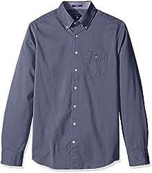 GANT Mens Dobby Oxford Shirt, Indigo Blue, X-Large