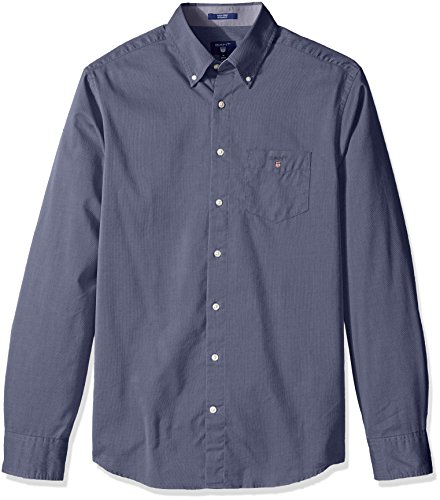 GANT Herren Hemden mit Lockerem Schnitt Men's Tech Prep Plain Oxford Reg Ls Bd Blue (INDIGO BLUE)