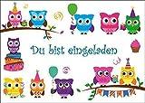 12 Eulen-Einladugskarten (Set 1): 12 lustige Eulen-Einladungen zum Kindergeburtstag oder zur Party von EDITION COLIBRI  (10645)