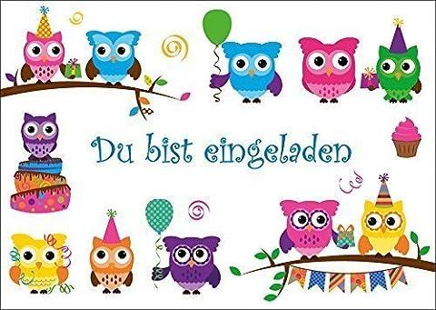 12 Eulen-Einladugskarten (Set 1): 12 lustige Eulen-Einladungen zum Kindergeburtstag oder zur Party von EDITION COLIBRI © (1 Kindergeburtstag)