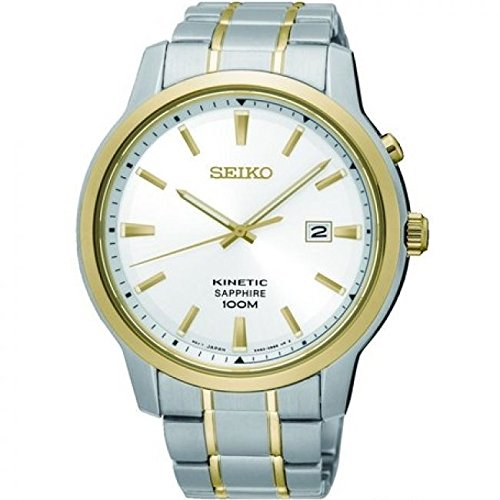 Gents Mens Two Tone Seiko Kinetic Watch on Bracelet with Sapphire Glass and Date. SKA742P1