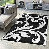 Tappeto Di Design Tappeto Per Soggiorno Levante Moderno Con Motivo Floreale Bianco Nero, Größe:80x150 cm