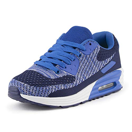 Fusskleidung Herren Damen Sportschuhe Textilschuhe Strick Sneaker Turnschuhe Gym Runners Schuhe Dunkelblau Blau EU 38