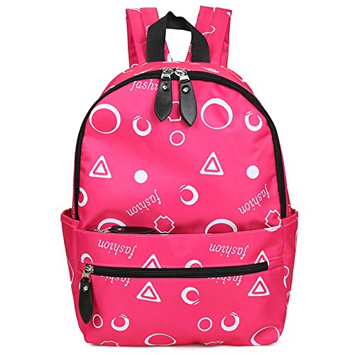 Fresco di piccole dimensioni di colore luminoso zaino impermeabile studentessa college vento borsa per il tempo libero sport borsa a tracolla, nero e verde Pink