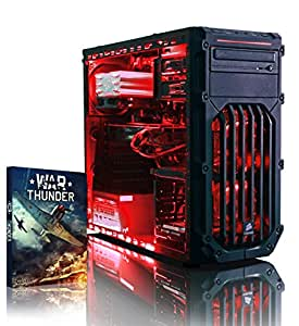 VIBOX Warrior 4X - Fast 4.1GHz 6-Core, High Spec, Desktop Gaming PC, Computer with WarThunder Game Bundle, Neon Red Internal Lighting Kit PLUS a Lifetime Warranty Included* (3.5GHz (4.1GHz Turbo) AMD FX 6300 Six Core Processor, 2GB AMD Radeon R7 370 HDMI Graphics Card, High Grade 500W PSU, 2TB HDD Hard Drive, 8GB 1600MHz RAM, DVD-RW, Corsair Gamer Case, No Operating System)