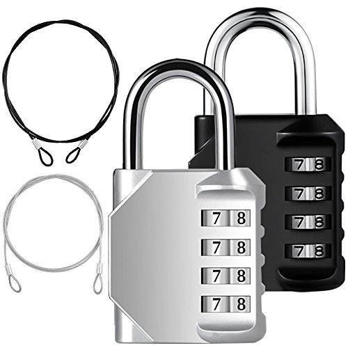 YuCool - Candado de combinación (2 unidades, 4 dígitos, 2 protectores de seguridad de acero inoxidable, 4 unidades), color negro y plateado