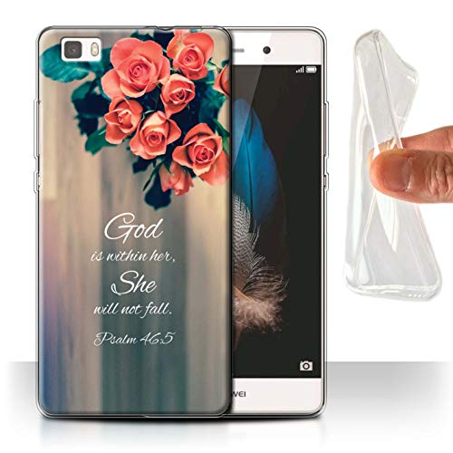 Stuff4® Gel TPU Hülle/Case für Huawei P8 Lite/God Within Her/Psalm Muster/Christliche Bibel Vers Kollektion