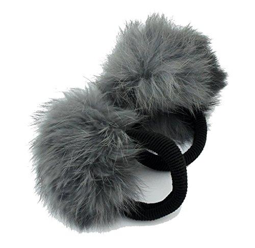 HAND Pom Pom-Haar-Band-Kaninchen Hellgrau Dekorative Pom Poms w/Band - Packung mit 2