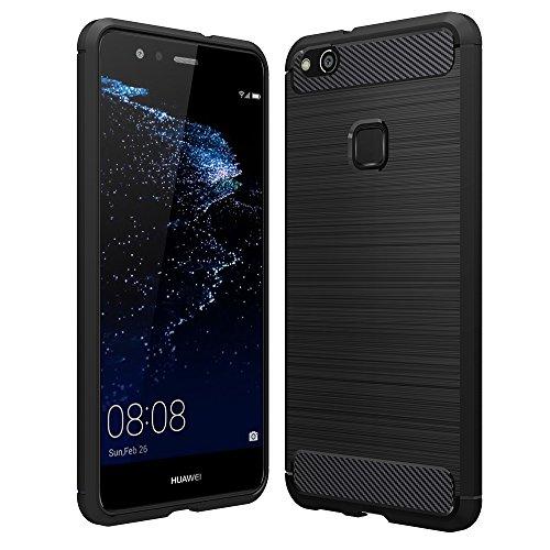 Anjoo Huawei P10 Lite Hülle, Carbon Fiber Texture-Inner Shock Resistant-Weich & Flexibel TPU Cover Case für Huawei P10 Lite, Schwarz