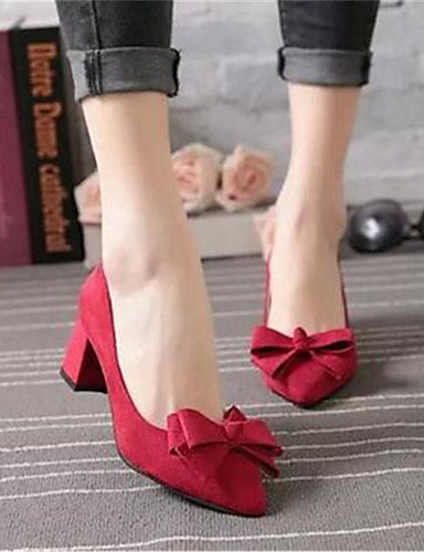 WSS 2016 Chaussures Femme-Bureau & Travail / Habillé-Noir / Rose / Rouge-Gros Talon-Talons-Talons-Synthétique red-us5.5 / eu36 / uk3.5 / cn35