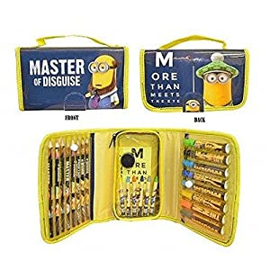 Despicable Me Minions Colouring Zip Up Bag, More Then Meets The Eye, Filled With Lots of Stationary and Colours