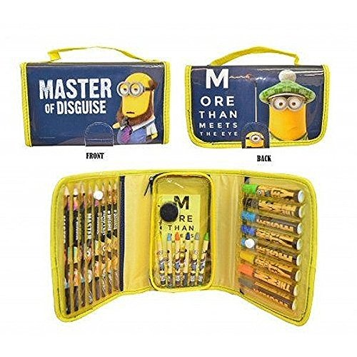 Image of Despicable Me Minions Colouring Zip Up  Bag, More Then Meets The Eye, Filled With Lots of Stationary and Colours