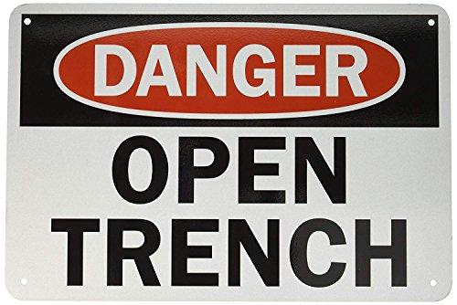 PotteLove Engineer Grade Schild, Legend Danger: Open Trench, 30,5 x 45,7 cm, Schwarz/Rot auf Weiß Satin Trench