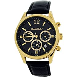 Gianni Sabatini Gents Chronograph Date Dial Black Genuine Leather Strap Watch