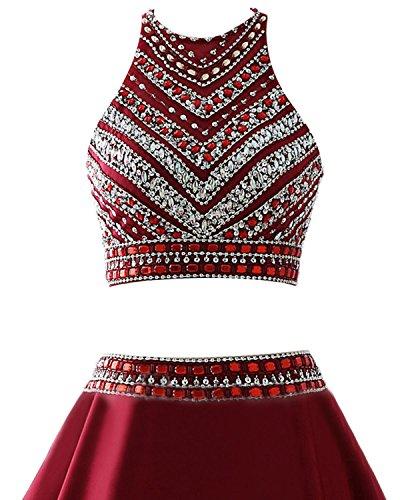 Dresstells Robe de cérémonie Robe de soirée emperlée deux pièces longueur ras du sol Rouge