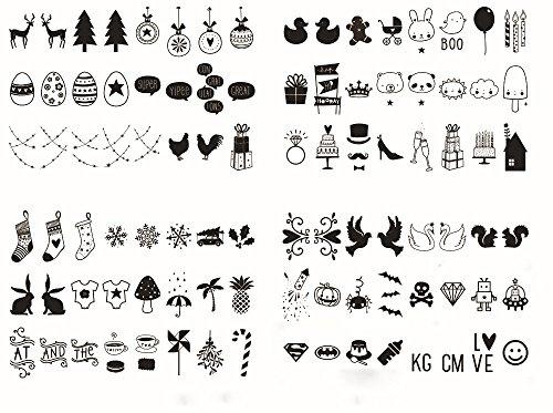 NectaRoy Lightbox Ergänzungsset Licht Box Weihnachtstag Muster Set- Zeichen Erweiterungs-Set für LED Lichtbox A4 Ergänzungsset Celebrations, Inhalt: 96 Stück, Schwarz